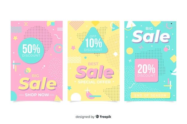 Set de banners de rebajas en estilo memphis vector gratuito