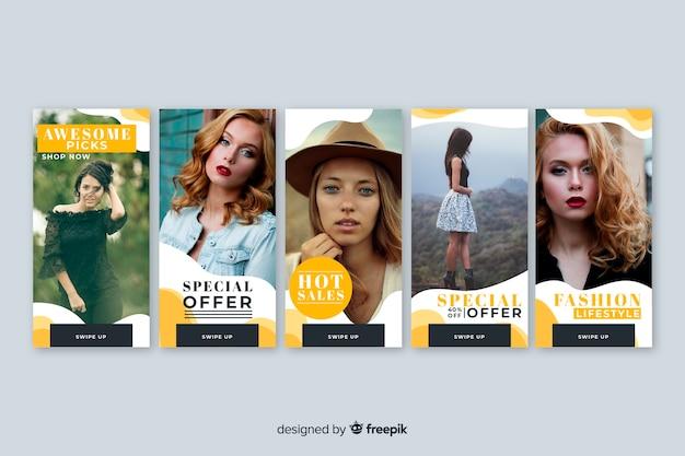 Set de banners de rebajas con imagen vector gratuito
