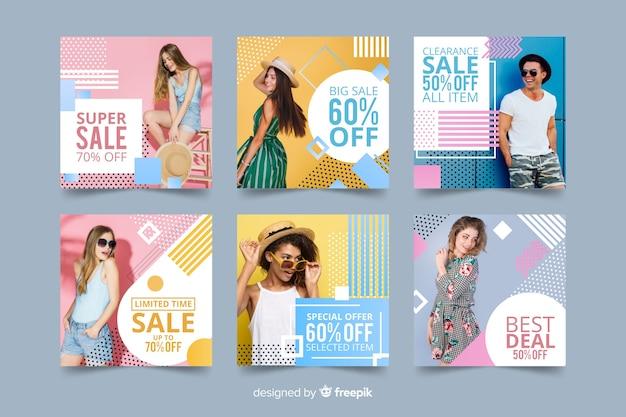 Set de banners de rebajas de moda con foto vector gratuito