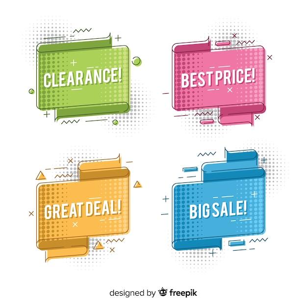 Set banners de rebajas origami coloridos vector gratuito