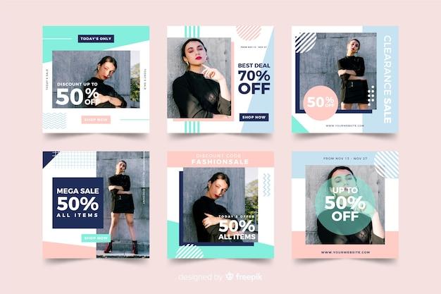 Set de banners de redes sociales de rebajas de moda vector gratuito