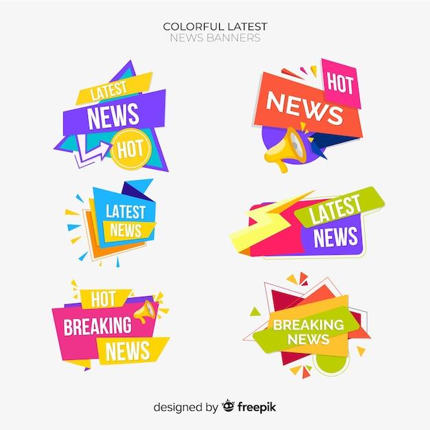 Set banners últimas noticias formas geométricas planas vector gratuito