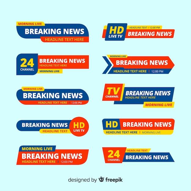 Set de banners de últimas noticias vector gratuito