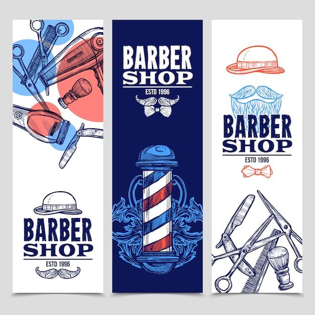 Set de banners verticales de barbería vector gratuito
