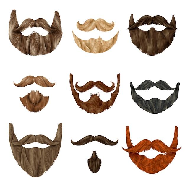 Set de barbas y bigotes realistas vector gratuito