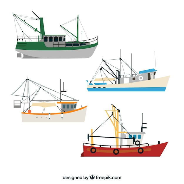 Set De Barcos Pesqueros Descargar Vectores Gratis