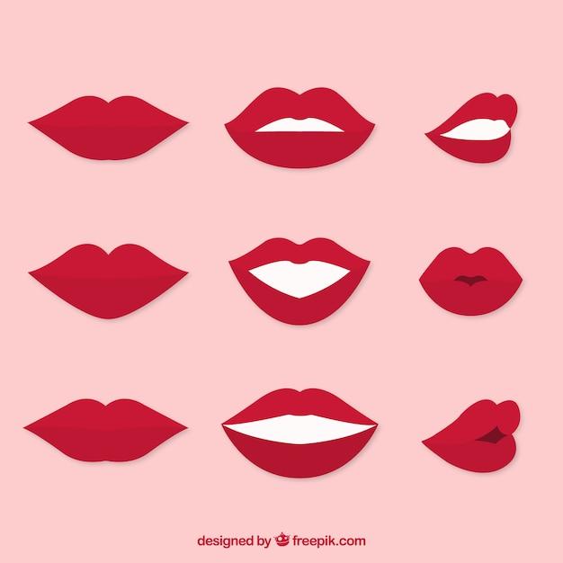Set de bocas gesticulando vector gratuito