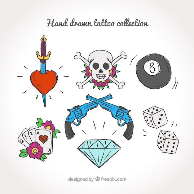 Set De Bocetos De Bonitos Tatuajes En Color Descargar Vectores Gratis