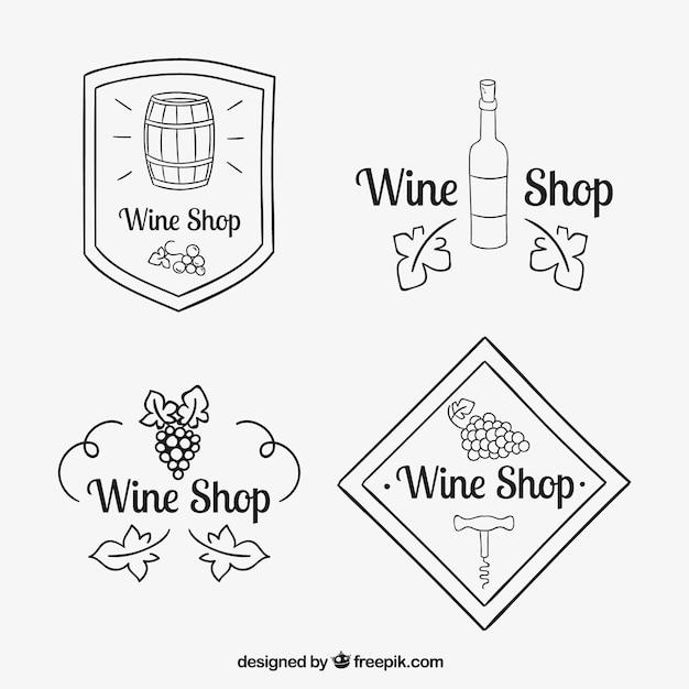 Set de bocetos de logos de vino vector gratuito