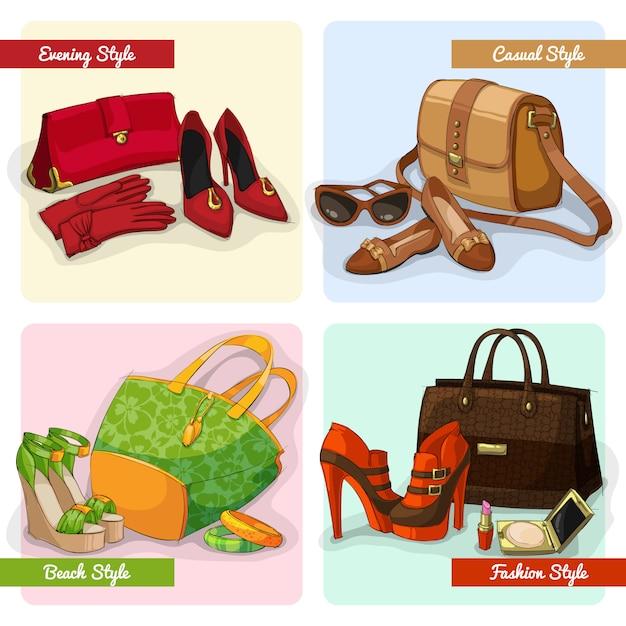 Set de bolsos de mujer elegantes, zapatos y accesorios en moda de noche casual y de playa. vector gratuito