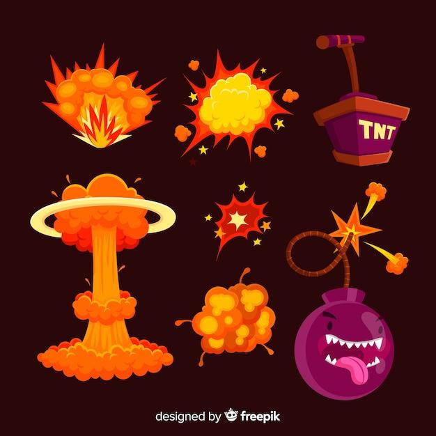 Set de bombas y efectos de explosiones de bombas de dibujos vector gratuito