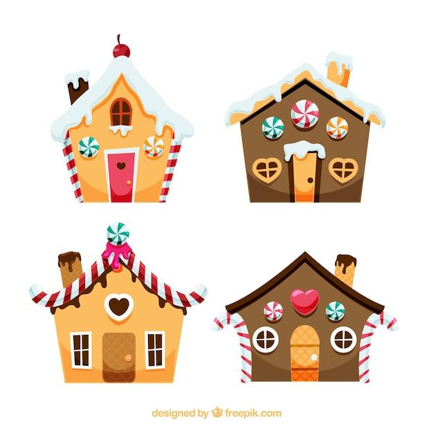 Set de bonita casa de jengibre Vector Gratis