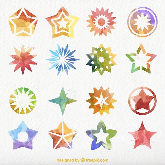 Set De Bonitas Estrellas Decorativas De Acuarela Descargar