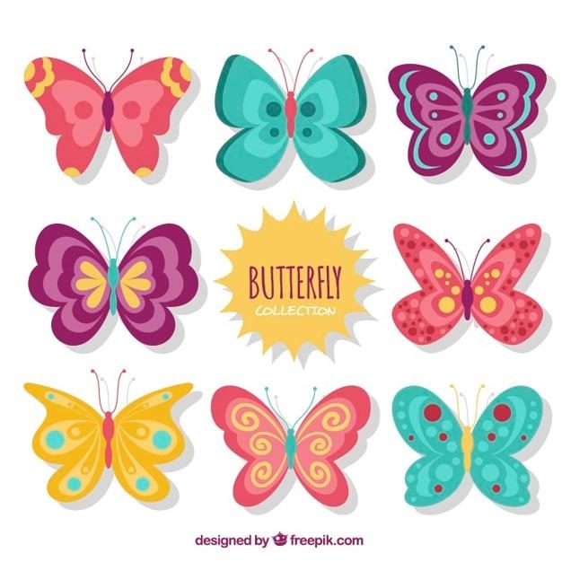 Set de bonitos diseños de mariposas vintage vector gratuito