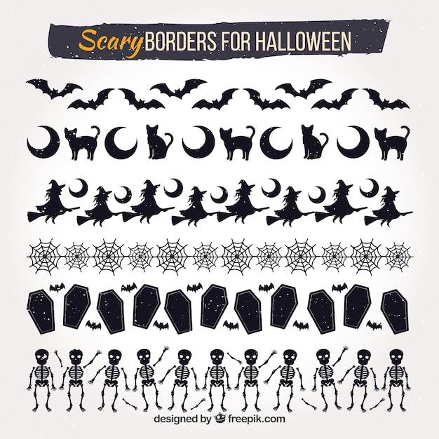 Set de bordes decorativos de halloween vector gratuito