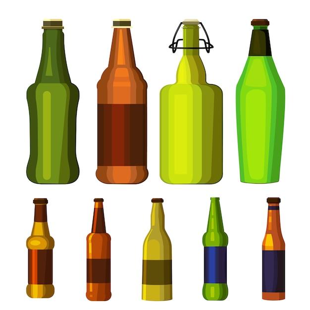 Set de botellas de cerveza vector gratuito