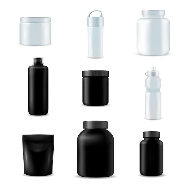 Set de botellas deportivas realistas vector gratuito