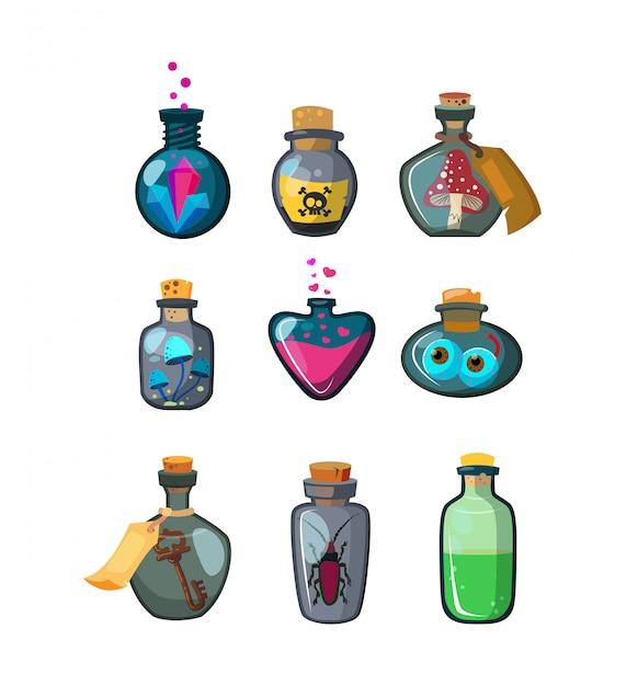 Set de botellas de pociones mágicas vector gratuito