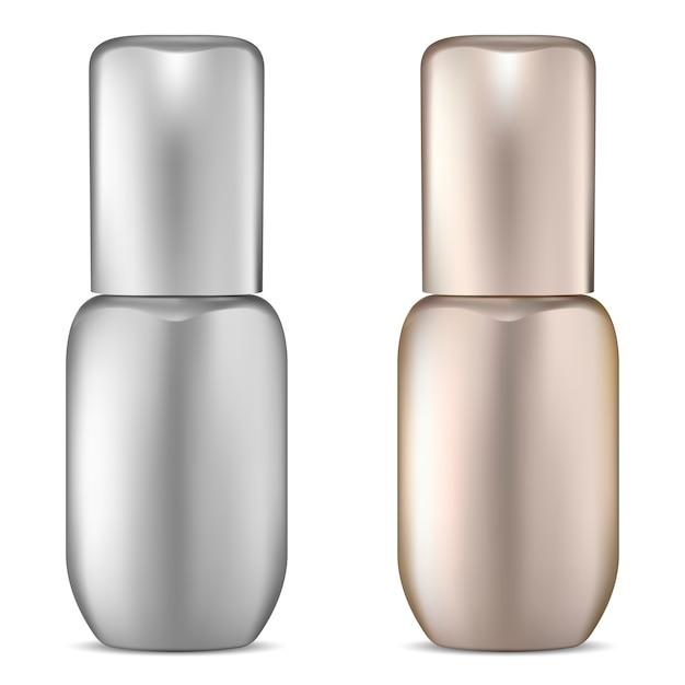Set de botellas de suero premium dorado y plateado. Vector Premium