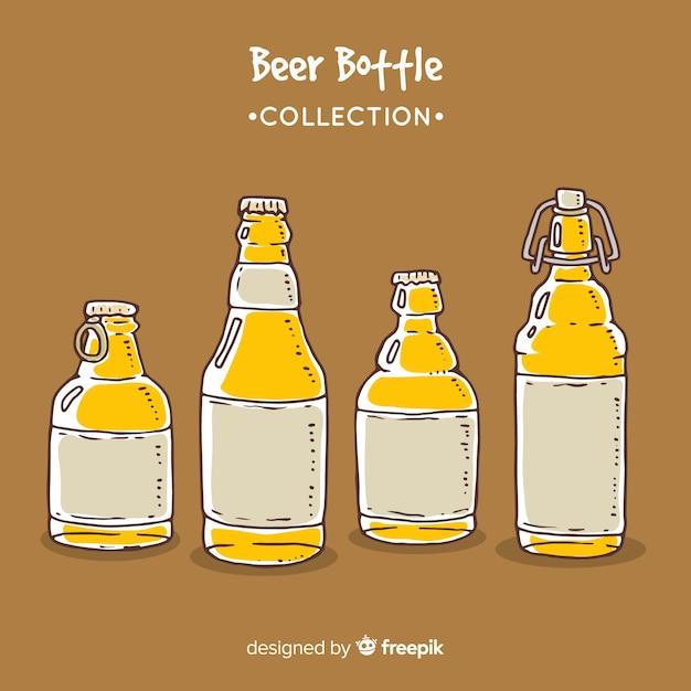 Set de botellines de cerveza vector gratuito