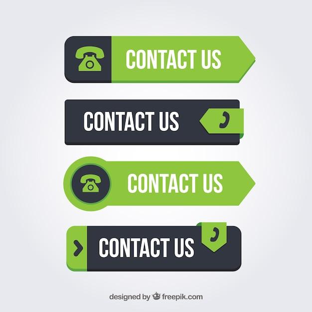 Set de botones de contacto de color verde Vector Premium