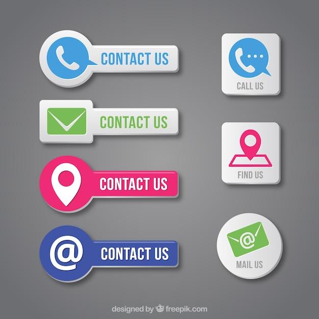 Set de botones de contacto en diseño plano vector gratuito