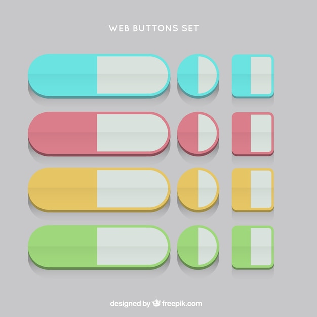0218ef6984320 Set de botones web en un diseño plano