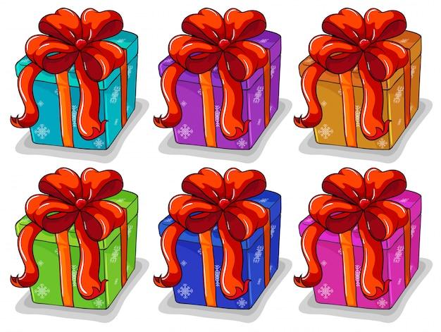 Set de caja de regalos vector gratuito