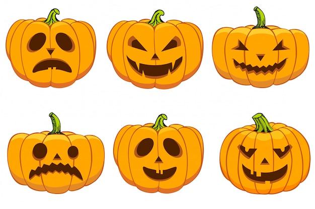 Set de calabazas para halloween Vector Premium