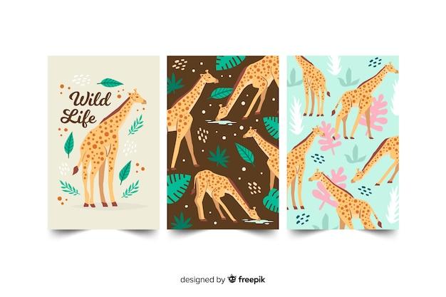 Set de cartas dibujadas de animales salvajes vector gratuito