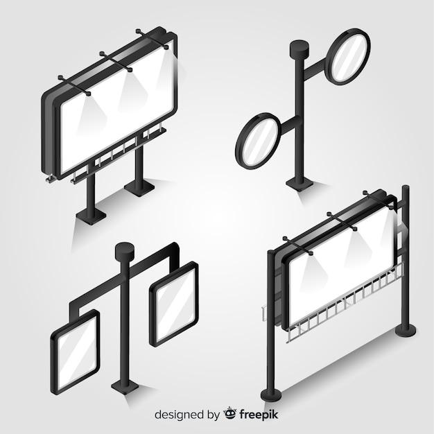 Set de carteles luminosos isométricos vector gratuito