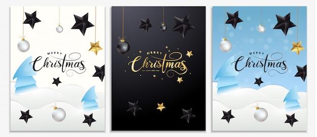 Set de carteles de navidad, invitaciones, tarjetas o volantes. banners de vacaciones con letras de oro metálico, estrellas negras, bolas de navidad, nieve, oropel y confeti. decoración festiva de invierno. Vector Premium