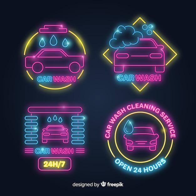 Set de carteles de neón de lavados de coches vector gratuito