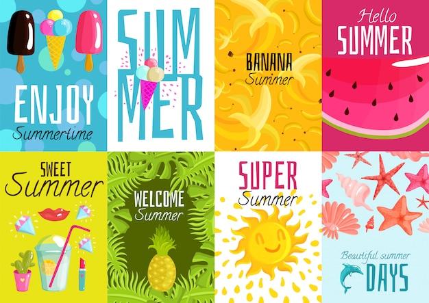 Set de carteles de verano Vector Premium