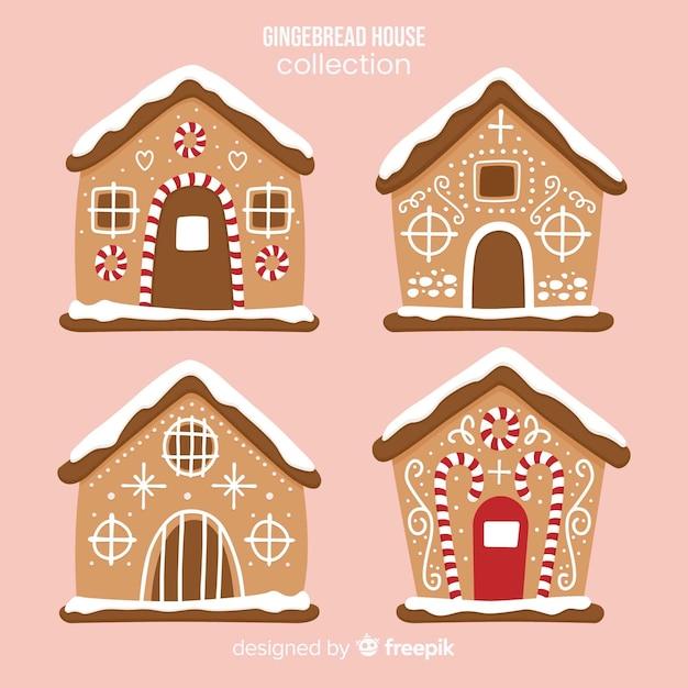 Set de casas de galleta de jengibre vector gratuito