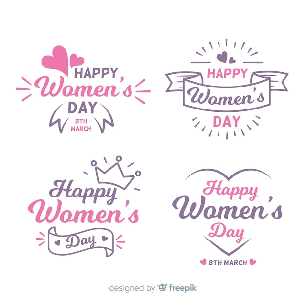 Set chapas día de la mujer dibujadas a mano vector gratuito