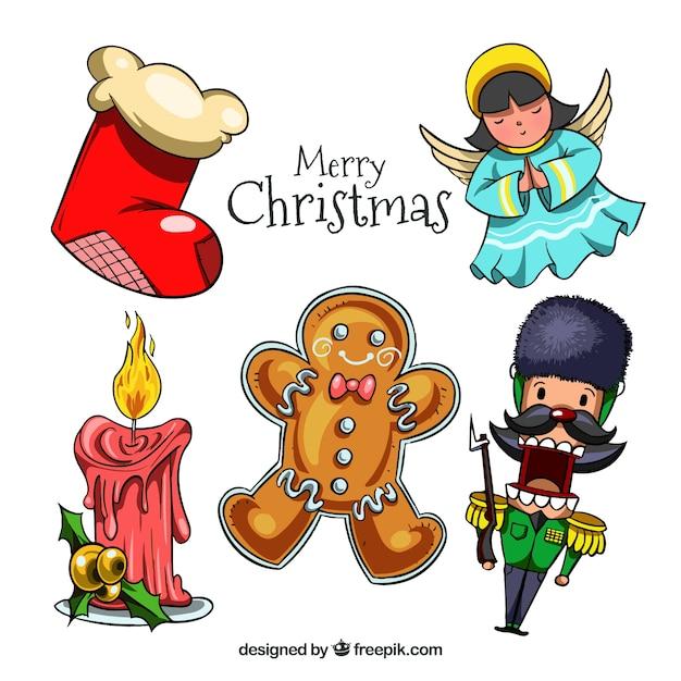 Set De Cinco Objetos Decorativos De Navidad Dibujados A Mano - Decorativos-de-navidad