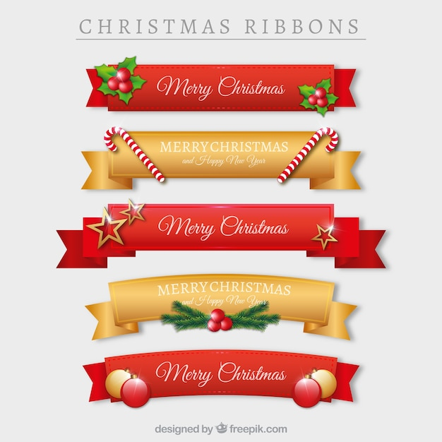 bb9e07e19fa83 Set de cintas navideñas rojas y doradas