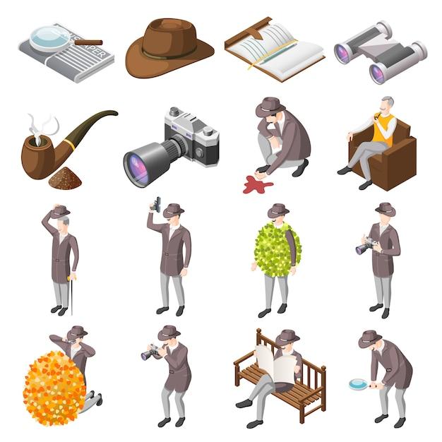 Set clásico de detectives vector gratuito