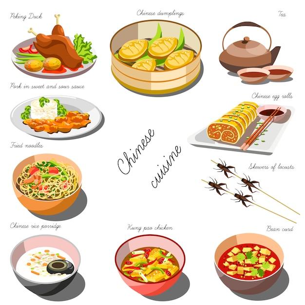 Set de cocina china. colección de platos de comida Vector Premium