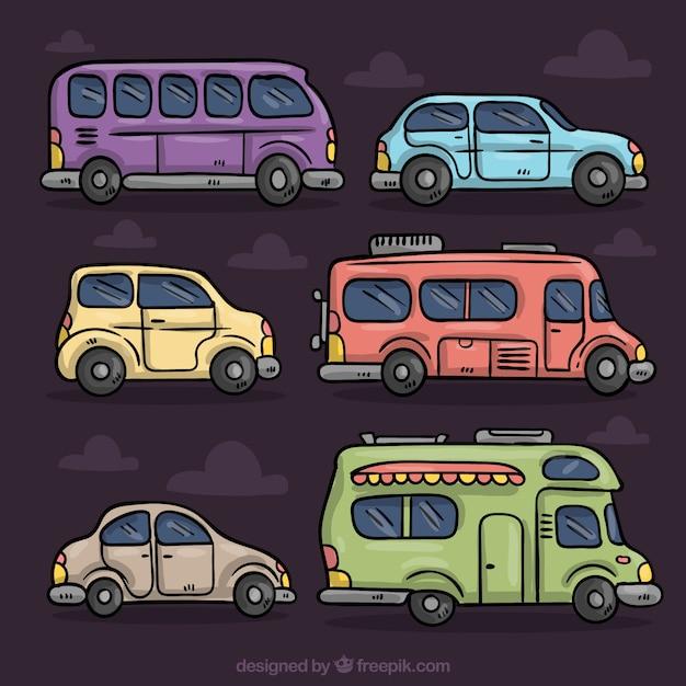 Set colorido de diferentes vehículos dibujados a mano vector gratuito