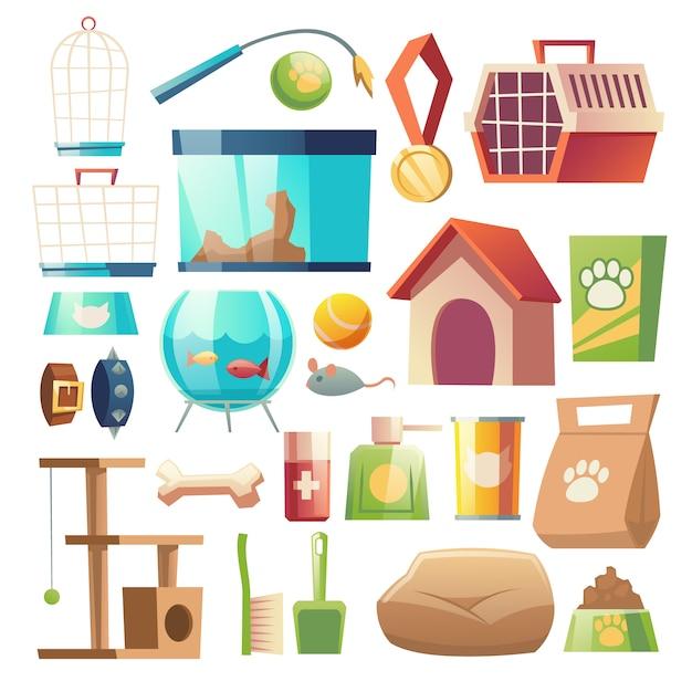 Set de comida y accesorios para tienda de mascotas vector gratuito