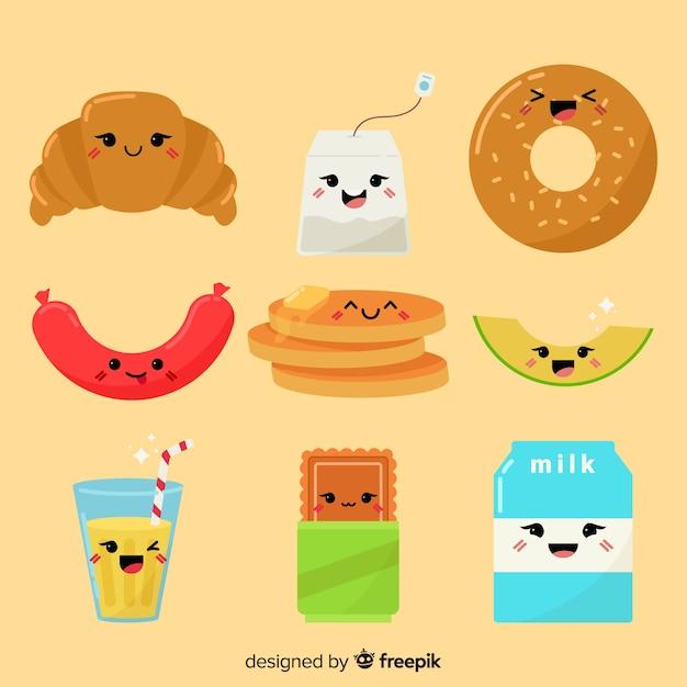 Set de comida en estilo kawaii vector gratuito
