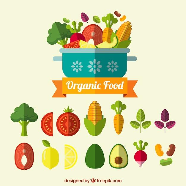 Set De Comida Organica En Diseno Plano Vector Gratis
