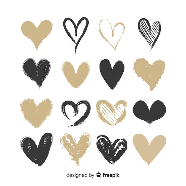 Set corazones dibujados a mano vector gratuito