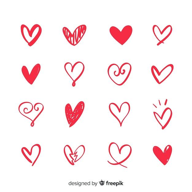 Set corazones pequeños vector gratuito
