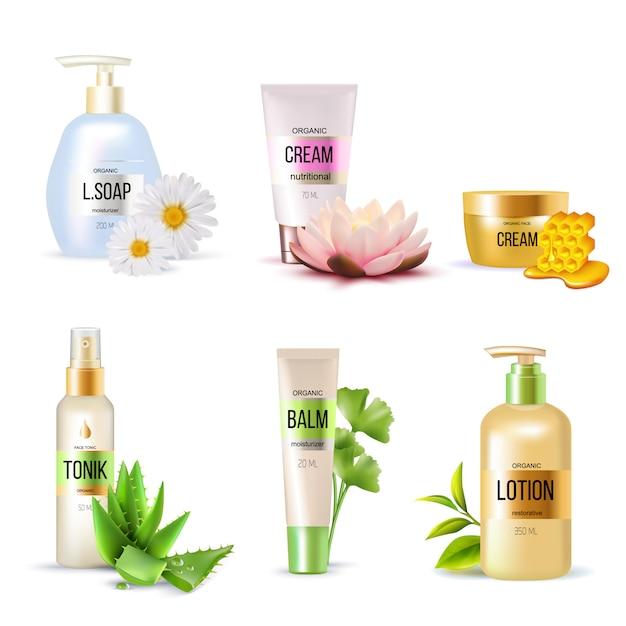 Set de cosmética ecológica vector gratuito