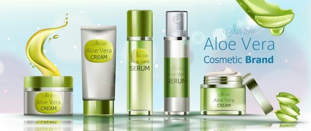 Set de cosméticos en crema y suero para el cuidado de la piel. marca de cosméticos de aloe vera vector gratuito