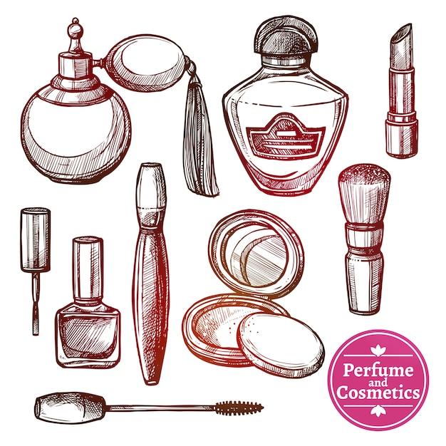 Set de cosméticos estilo dibujado a mano vector gratuito