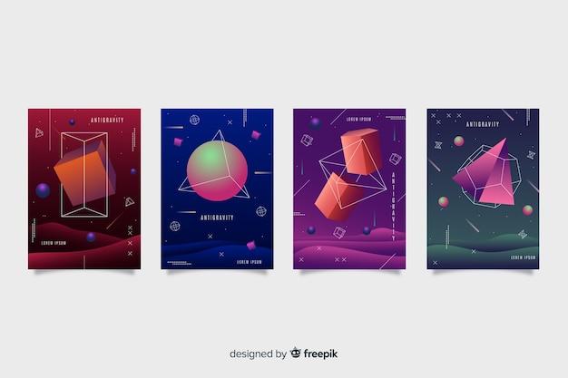 Set de covers  de antigravedad con formas geométricas vector gratuito